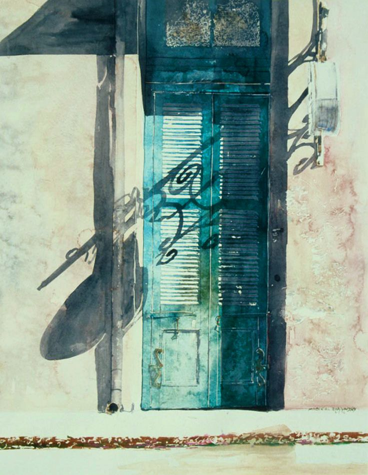 "blue door new orleans 30"" x 22""  micheal zarowsky - watercolour on arches paper private collection"