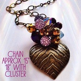 Antiqued brass heart with purple & gold cluster