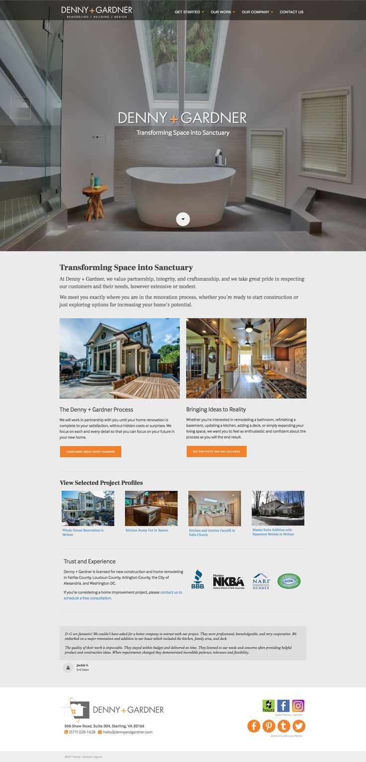 (Jump Start V2.1.4) Just launched a great new website redesign for Denny + Gardner, a home remodeling contractor located in Sterling, VA.  Their work is amazing! The new website was designed to simplify their information and portfolio, and to showcase their terrific photographs of finished projects.   Of course, the site is mobile/tablet optimized, easy to manage, fast loading, secured and backed up, and very search engine friendly.