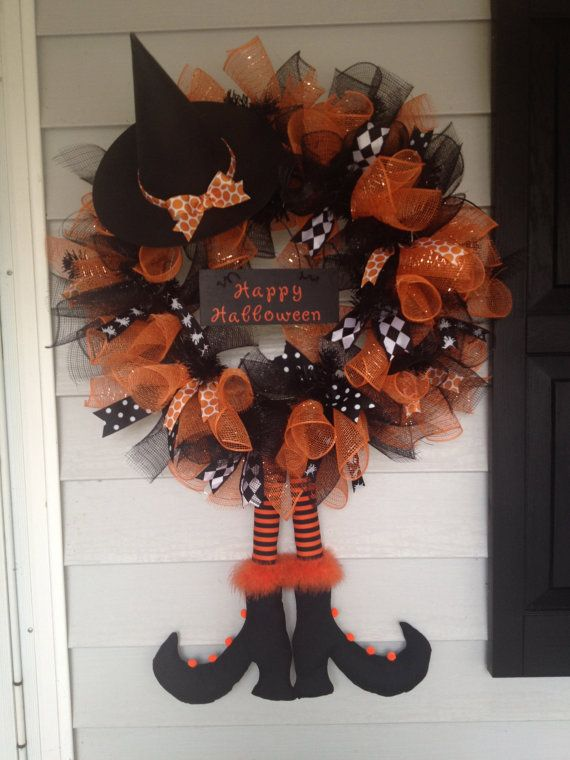halloween mesh wreaths | Deco Mesh Halloween Witch Wreath and Cute Witch Feet Decoration (2 ...