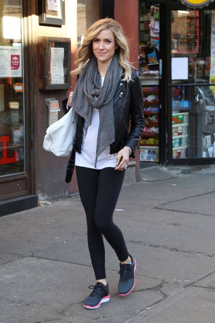 Black leather jacket, grey scarf, white tee, Nike free trainers.  Swap the leggings for black jeans to make more age appropriate