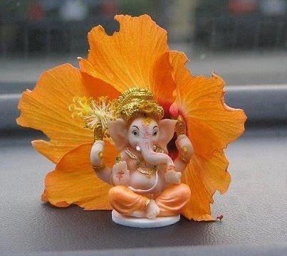 Lord GaneshaBeautiful Flower, Flower Hibiscus, Orange Flower, Ganesha Statues, Elephant Powerganesha, Hindu Deities, Divination Hindu, Gajanandlord Ganesha, Ganesha Removal