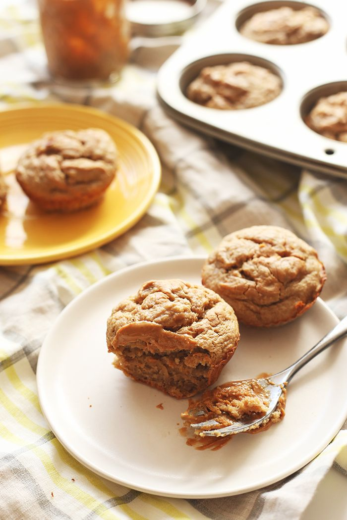 Extra-ripe bananas and all-natural peanut butter make these healthy banana peanut butter muffins a healthier snack option! Made in one bowl and no added sugar, these muffins will become a must-bake healthy treat!