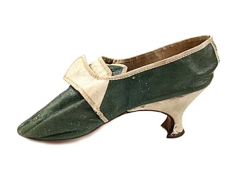 1770s  Shoe-Icons / Shoes / Lady's white and green kidskin shoes with Louis heel.