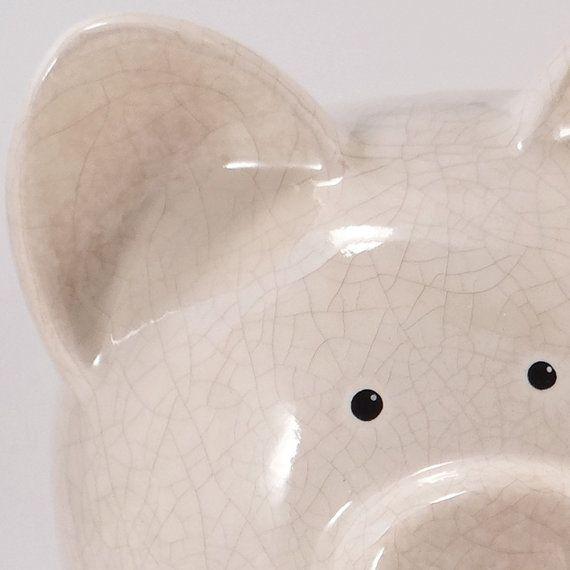 Cream Antique #Crackle #PiggyBank  Personalized Piggy by #ThePigPen