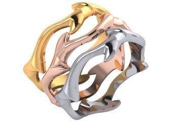 Ouro branco, ouro amarelo, do casamento de Rosa de Ouro empilhável e Bandas Anniversary