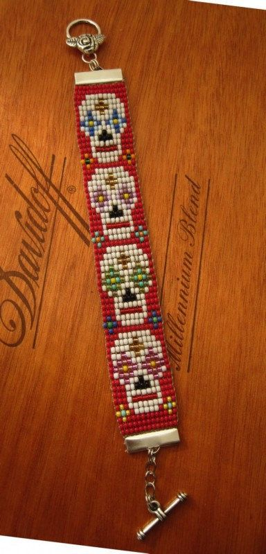 Day of The Dead Loom Beaded Bracelet by tee007 on Etsy, $25.00 traditional mexican folk art style jewellery love the skulls