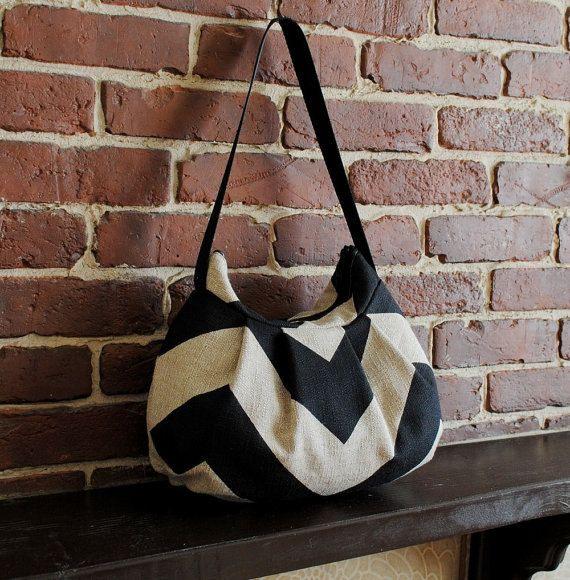 Pleated Bag // Shoulder Purse  Chevron Black / Dention by lireca, $35.00