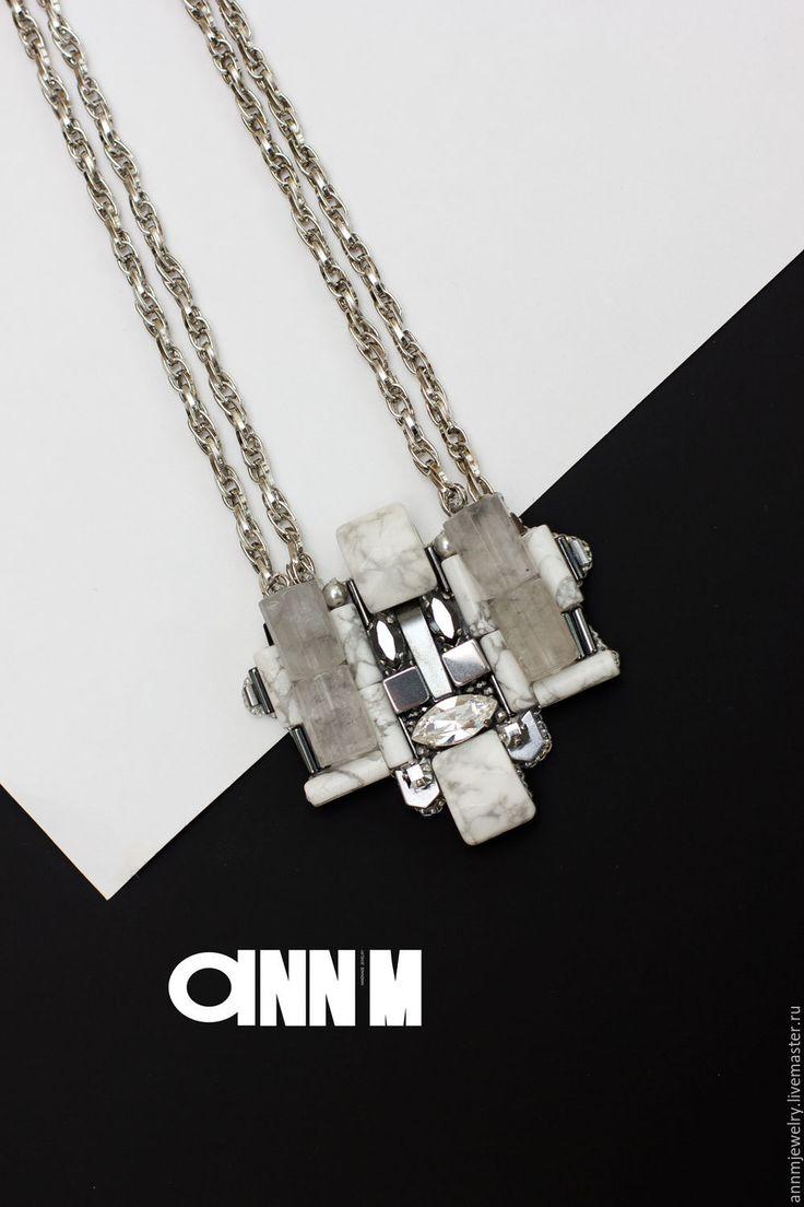 Купить Кулон 01 - белый, белый и серый, Футуризм, современный стиль, современное искусство, кулон