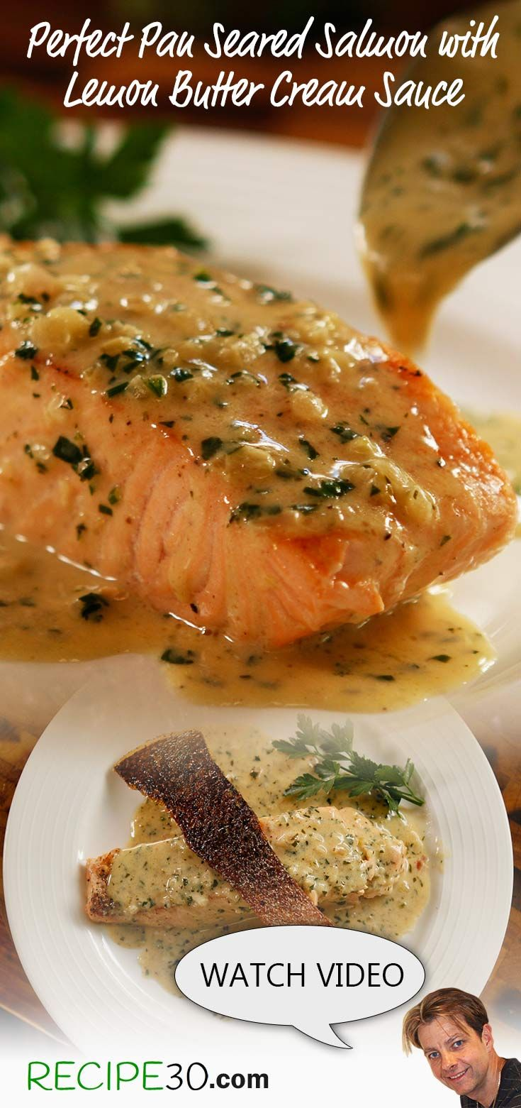 This pan fried seared salmon is poached in its own sauce rendering it flaky and moist. There's the option of a crispy skin, by baking it separately if you wish to impress. It's the only way to get a crispy skin with a cream sauce. Without the optional cri
