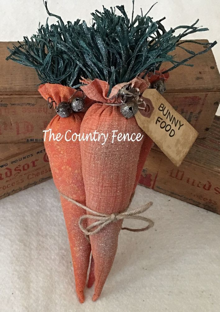 Primitive Ornies Easter Carrots Ornies Bowl Fillers Make Do's Prim Ornies Tucks  | eBay