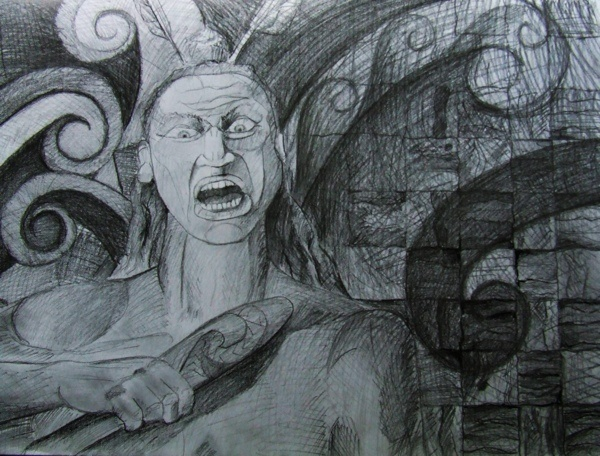 "A pencil sketch from the series, ""The study of the Maori Warrior""."