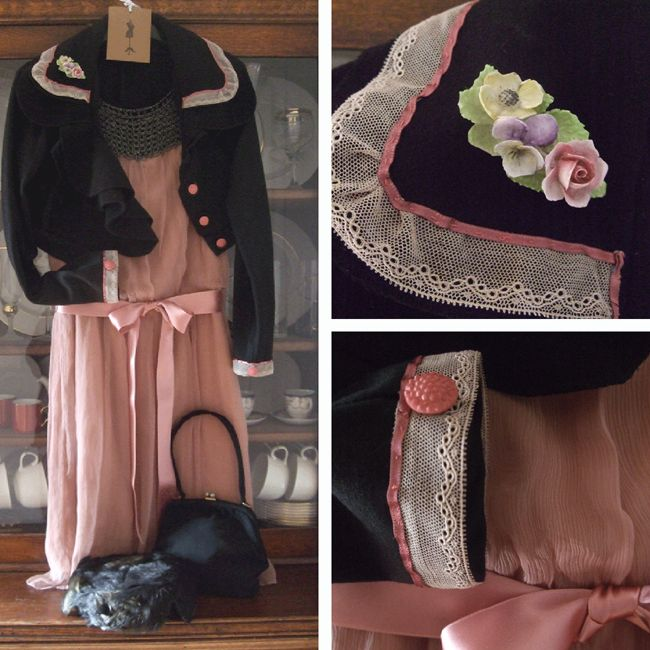 repurposed wool jacket with vintage lace and button trim