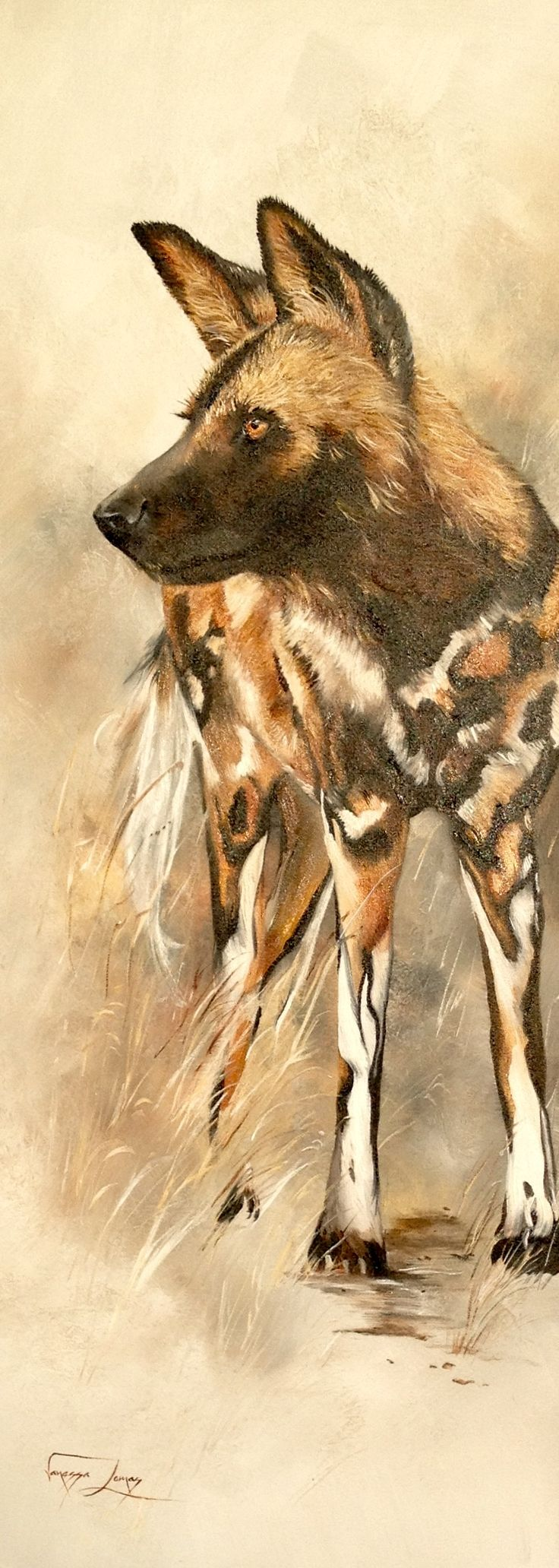 Wild dog, 46 X 121 cm, oil on canvas. Also known as the Cape hunting dog or the painted dog.