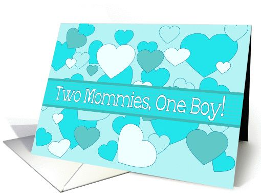 Lesbian Moms Twin Baby Boys Congratulations Blue Hearts card