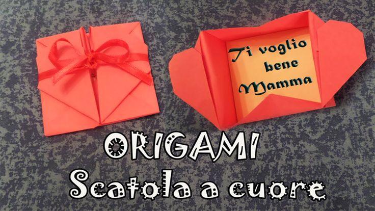 Origami, tutorial scatola a forma di cuore per la festa della mamma - he...