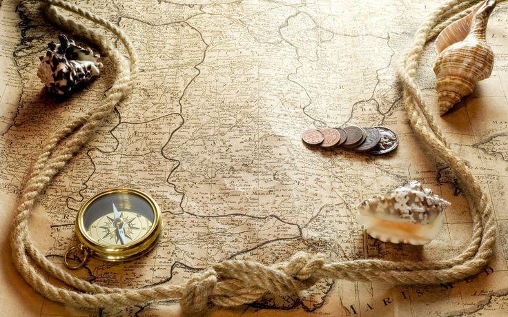 coins shells maps compasses ropes  / 1920x1200 Wallpaper