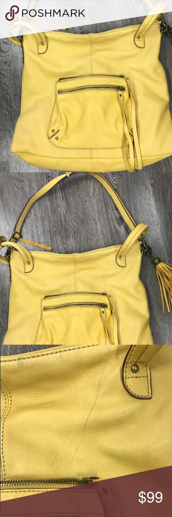 Auth Lucky Brand yellow leather XL shoulder bag Beautiful new Lucky Brand yellow leather XL shoulder bag.. many compartments and zippers ... a few light lean marks pictured 😒but still amazing Lucky Brand Bags Satchels