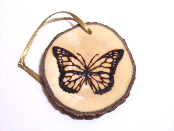 Butterfly Pyrography Christmas Tree Decoration by FoxHollowShop (With images)   Christmas tree ...