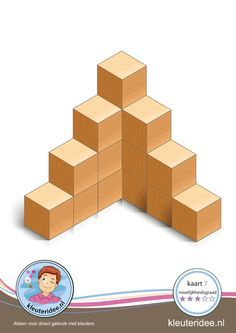 Bouwkaart 7 moeilijkheidsgraad 3 voor kleuters, kleuteridee, Preschool card building blocks with toddlers 7, difficulty 3.