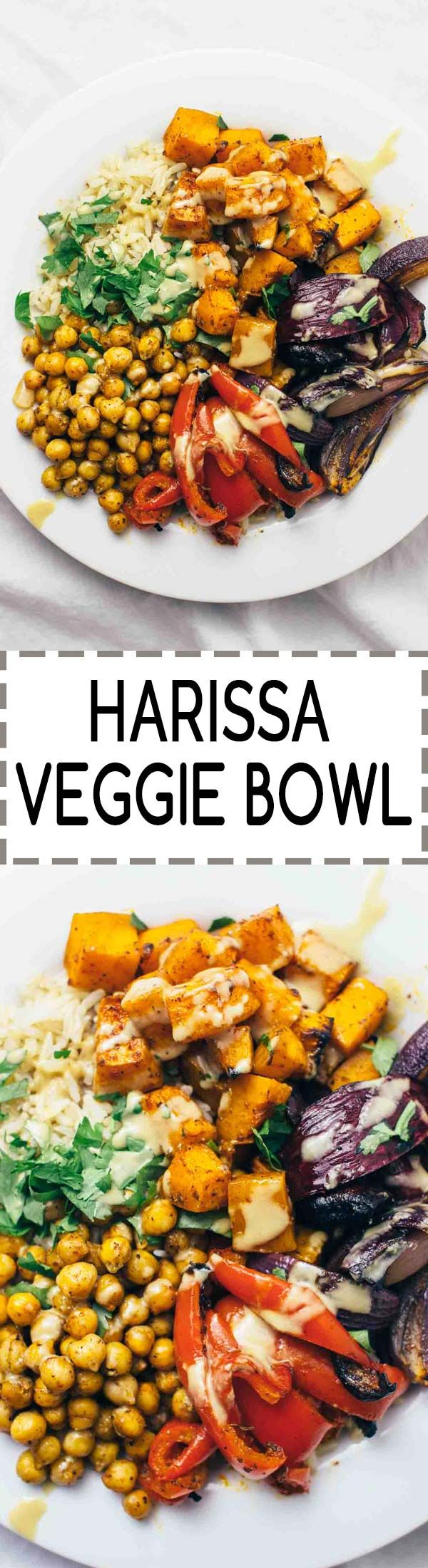 Harissa Veggie Bowl! Vegan, vegetarian, gluten-free power bowl that's perfect for an easy weeknight dinner. Head over to the blog for the recipe!