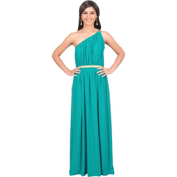 Koh Koh Detailed Greek One Shoulder Maxi Dress in Turquoise w/ Golden... (580 HKD) ❤ liked on Polyvore featuring dresses, one shoulder maxi dress, turquoise, turquoise dress, blue maxi dress, one sleeve cocktail dress and special occasion dresses