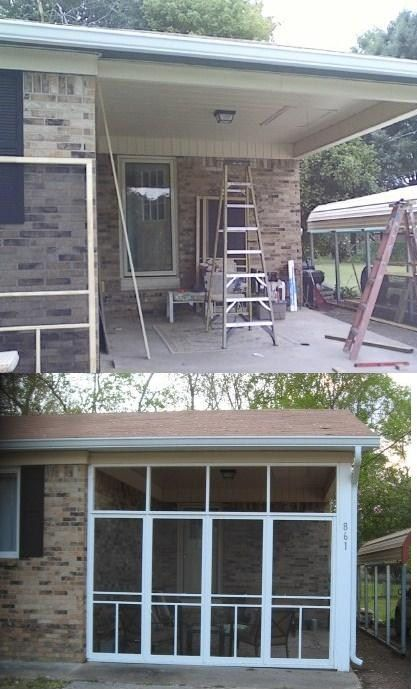 "Pinner idea ------""I turned my one car carport in to a screen in room , using basic 20doller screen doors ..framed to door size then trimmed the doors in ..only one door opens on each wall.I love it no more flying bugs when I'm relaxing or dinning out side."""