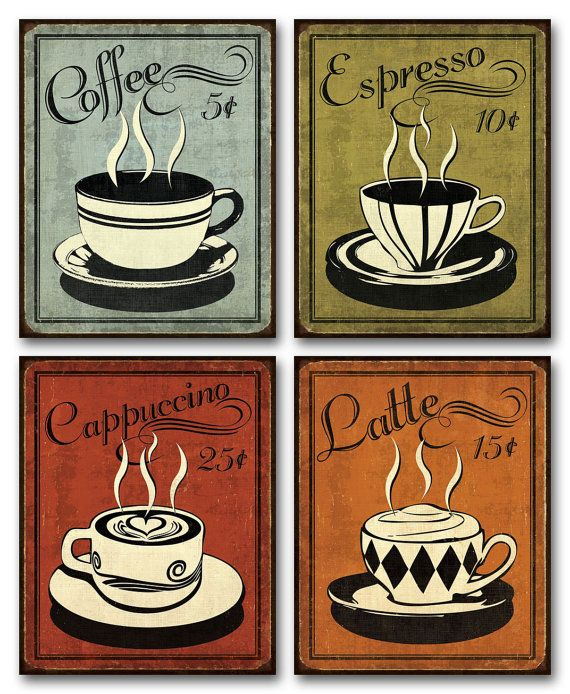 Value Pack Set of 4 Retro Coffee Prints  8x10 by SkillfulSynergy, $20.00