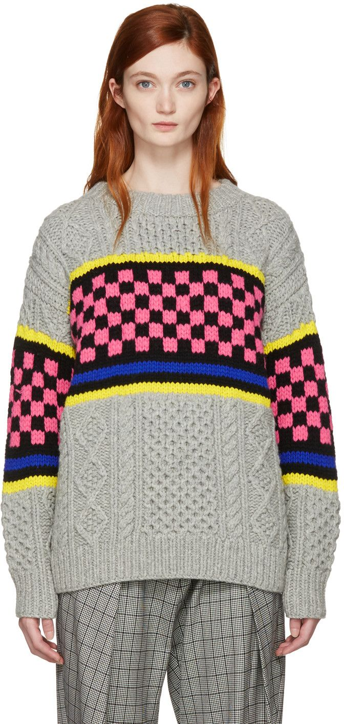 ASHLEY WILLIAMS Multicolor Oversized Cable Knit Sweater. #ashleywilliams #cloth #sweater