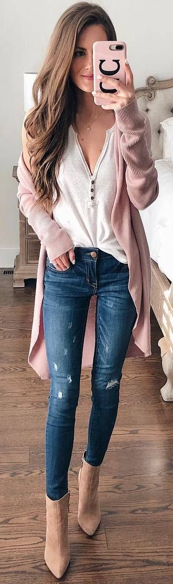 #winter #outfits white top, jeans, beige boots, pastel cardigan