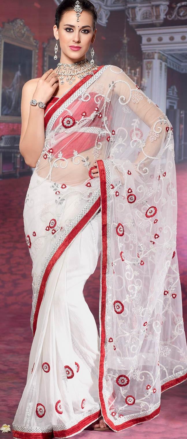Off #White Net #Saree with Blouse @ $161.95 | Shop @ http://www.utsavfashion.com/store/sarees-large.aspx?icode=stm136