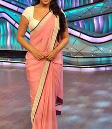 Buy Pink embroidered georgette saree with blouse sonakshi-sinha-saree online