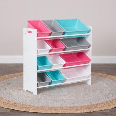 4 Tier Storage Shelf with 12 Tubs - Aqua & Pink   Buy Kids Furniture Online - oo.com.au