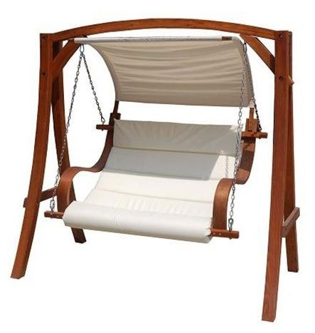 Wooden Gazebo Swing Chair Hammock with Canopy Roof.
