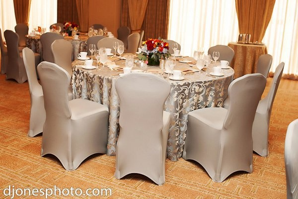 Blue Olympus Damask with Slate Gray Spandex Chair Covers – Lycra Chair Covers