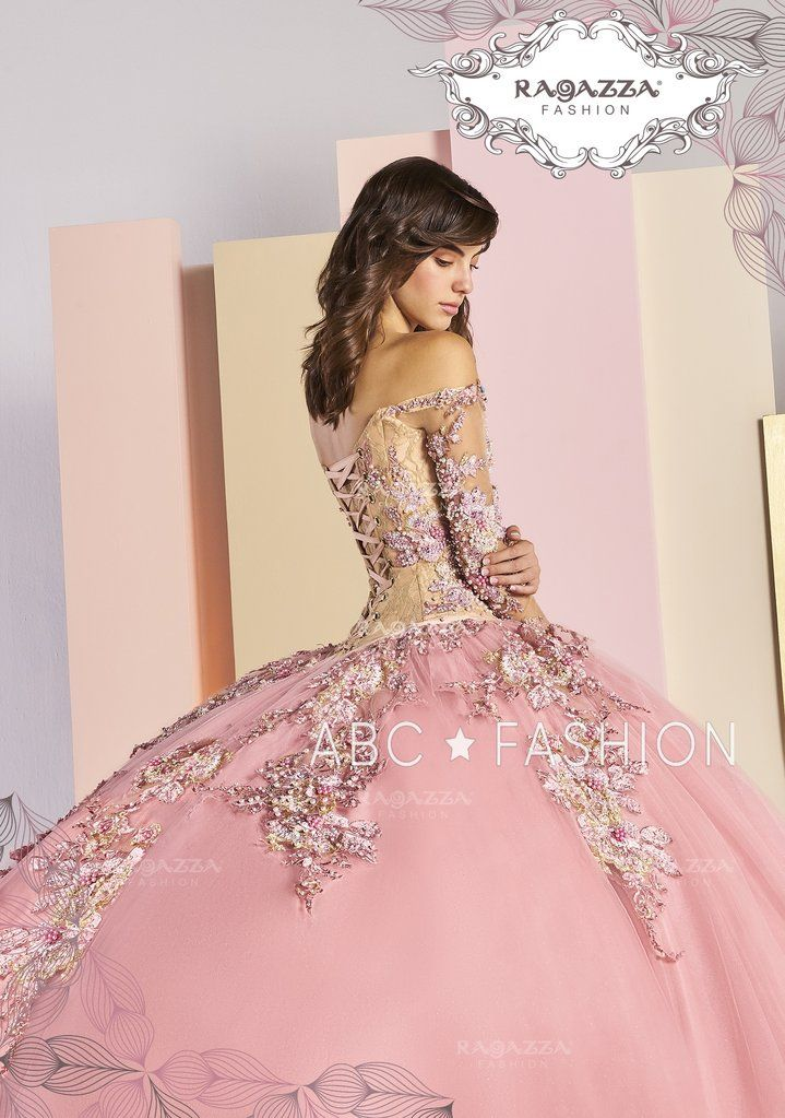 pink off the shoulder quinceanera dress by ragazza fashion