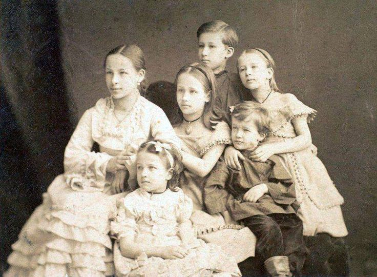The grandchildren of the famous Russian writer Alexander Pushkin: Natalia, Maria, Alexander, Olga, Anna, Grigory. 1874.
