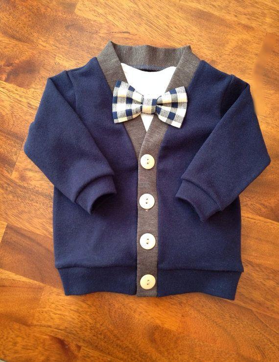 Navy Cardigan Bow Tie Set, Baby Cardigan and Plaid Bow Tie, Boy's Cardigan, Toddler Cardigan, Toddler Boys, Toddler Bow-tie Set