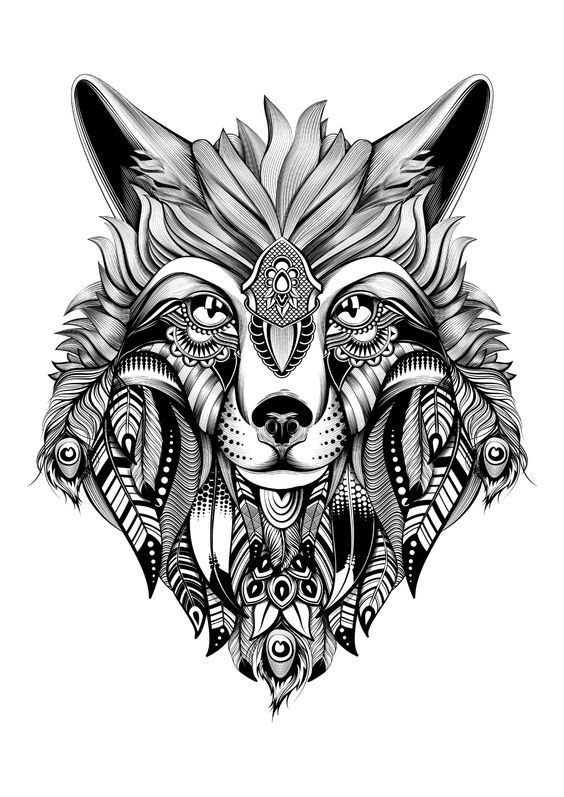 Check Out This Awesome Adult Coloring Image We Found While Browsing Around A Super Intricate Drawing Of Wolf To Color H