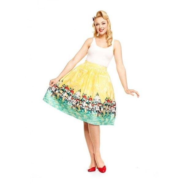 'Contessa' Yellow Venice Border Skirt ($49) ❤ liked on Polyvore featuring skirts, yellow, white skirt, skater skirt, yellow skater skirt, flared skirt and circle skirt