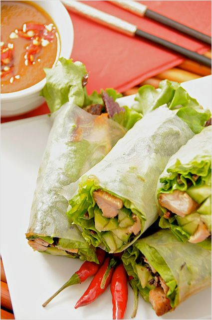 Goi Cuon (Vietnamese Fresh Spring Rolls) with Hoisin Peanut Dipping Sauce Recipe -- Vietnamese fresh spring rolls, filled with fresh herbs, veggies and grilled pork all wrapped with rice paper