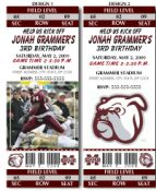 BTI-1062 - 8 College Football Mississippi State University Birthday Party Ticket Invitations