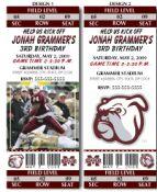 BTI-1062 - 8 College Football Mississippi State University Birthday Party Ticket Invitations