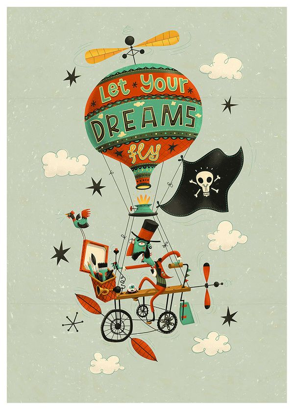 "Steve Simpson illustration ""Let your dreams fly"""