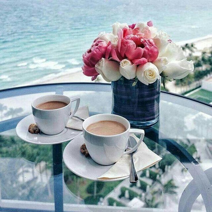 Красивые картинки утренний кофе у моря