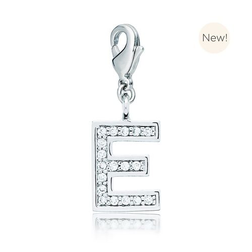 Letter E Initial Charm with Cubic Zirconia Rhodium Plated
