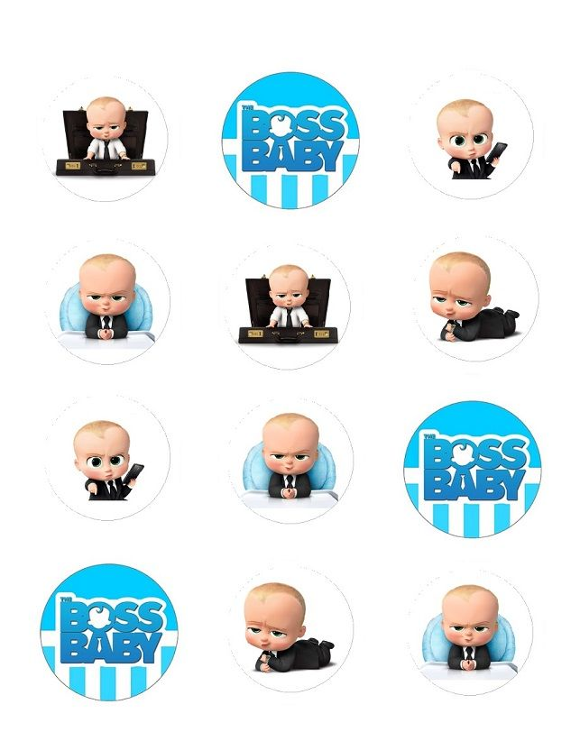 Boss Baby Edible Cupcake Toppers Image Boss Birthday Baby Birthday Party Boy Baby Boy 1st Birthday Party