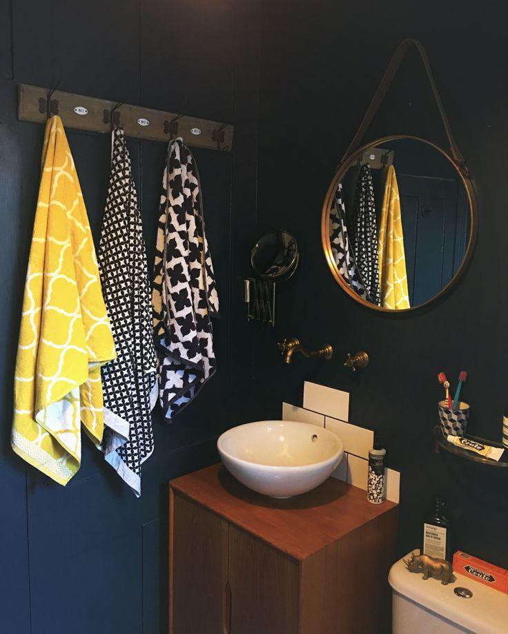 Hague blue, Moroccan towels, teak vanity unit vintage brass bathroom, House Tour: Our Blue, Brass bathroom