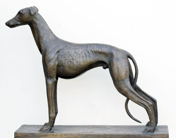 Bronze Dog sculpture by artist David Cornell titled: 'GREYHOUND FAITHFULL HOPE (bronze sculpture)'