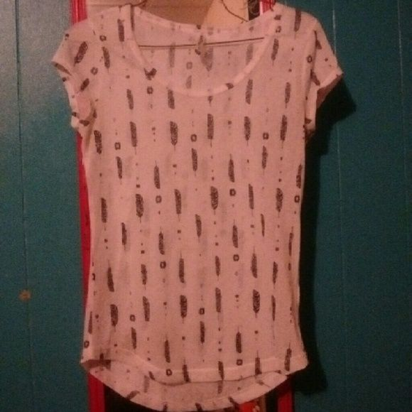 Feather print transparent shirt Has columns of feathers and other objects.  Says Medium but fits a small better. Practically new Wallflower Tops Tees - Short Sleeve